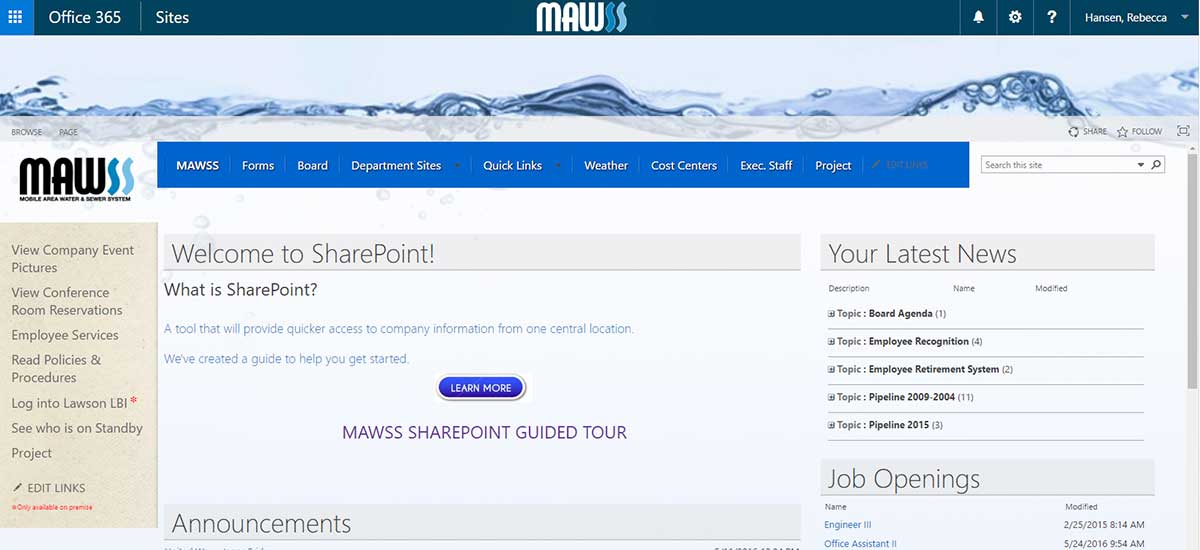 mawss new sharepoint home page