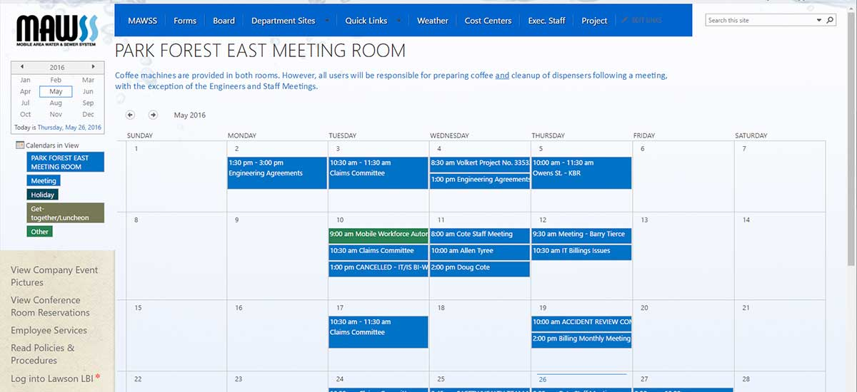 mawss new sharepoint calendar view