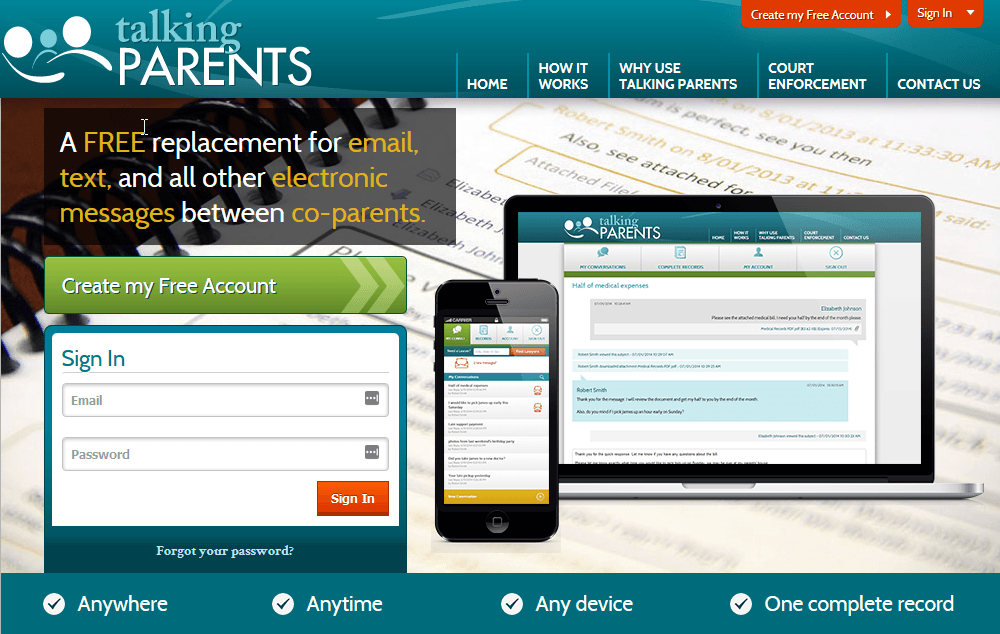 talkingparents.com home page desktop view