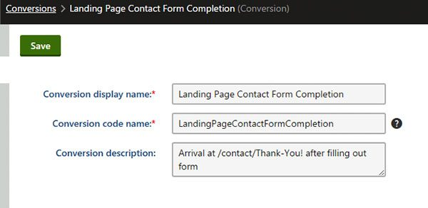 kentico landing page contact form
