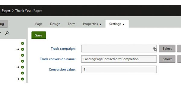assign conversion page in kentico
