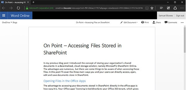 SharePoint Word Online