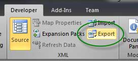 export excel 2010 to xml